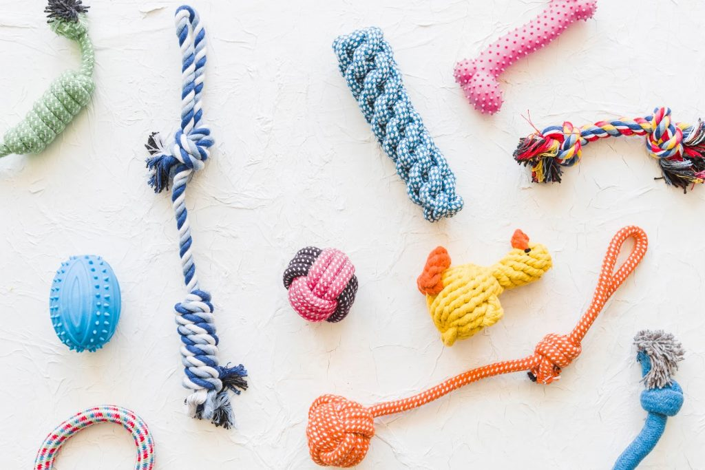 a collection of pet toys