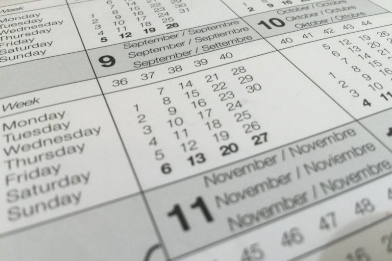 a zoomed view of a calendar
